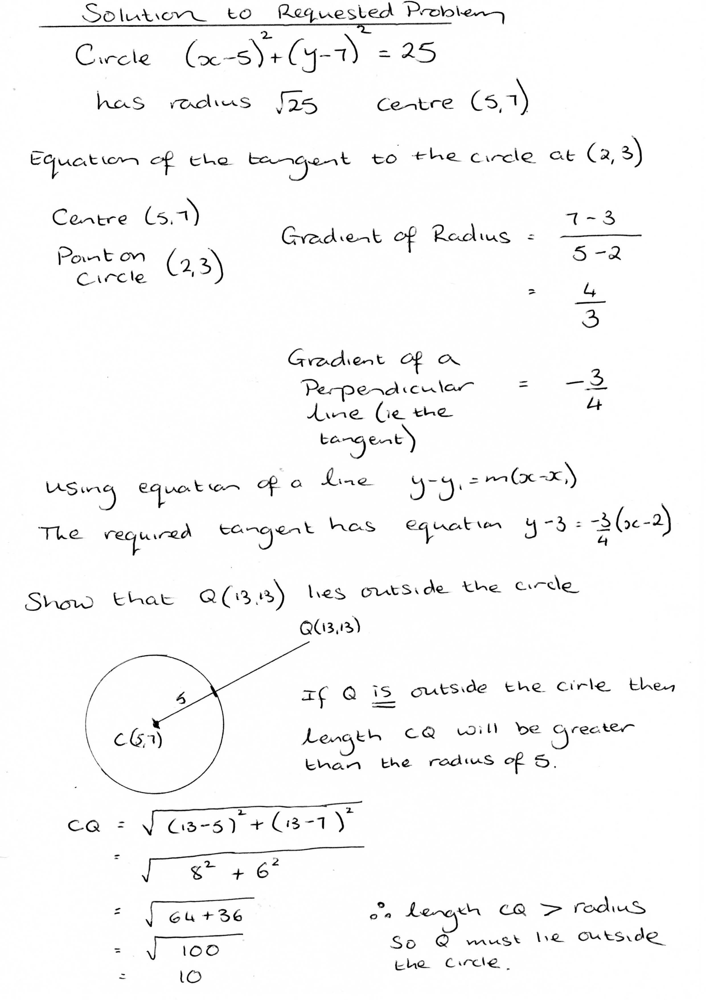 further maths wjec c coordinate geometry of the circle worked solution to wjec c2 past paper question