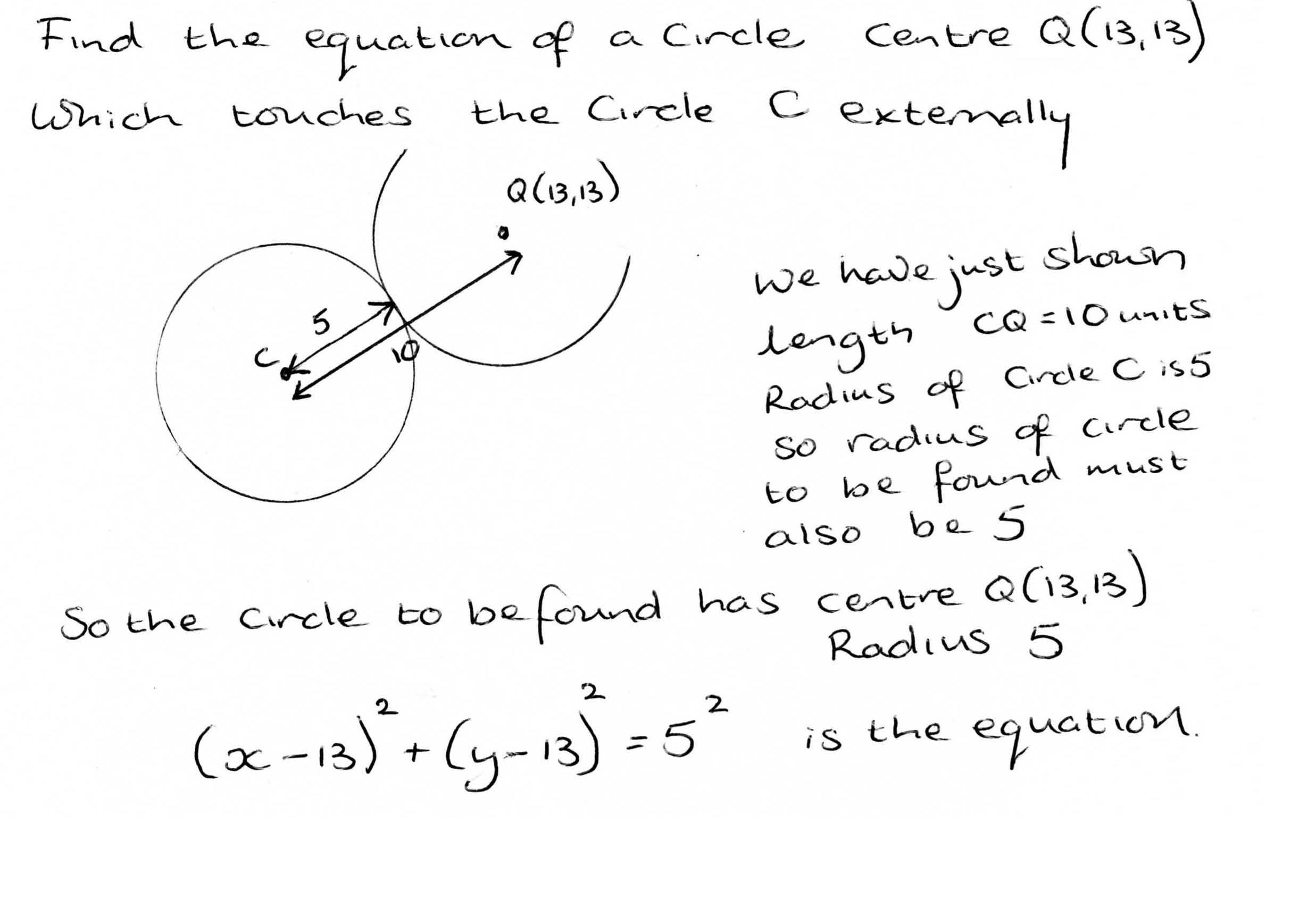 further maths wjec c2 coordinate geometry of the circle when two circles touch externally the distance between the centres is equal to the sum of the radii