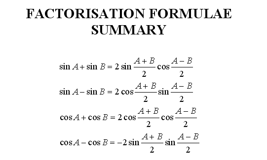 further maths wjec further trigonometry fp links to websites and resources on factor formulae